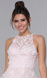 Image of short tulle homecoming dress with 3-D lace bodice. Style: DQ-3003 Detail Image 1