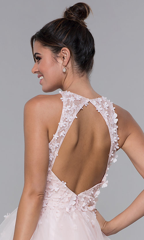 Image of short tulle homecoming dress with 3-D lace bodice. Style: DQ-3003 Detail Image 2