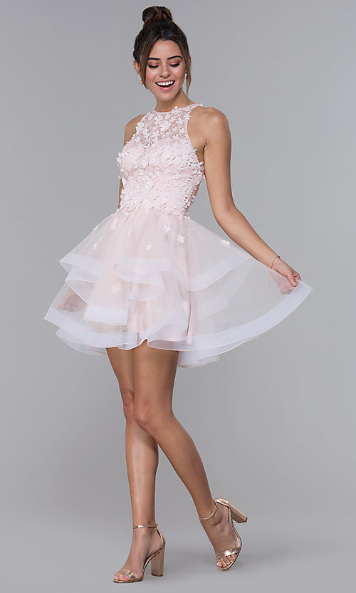 Image of short tulle homecoming dress with 3-D lace bodice. Style: DQ-3003 Detail Image 3
