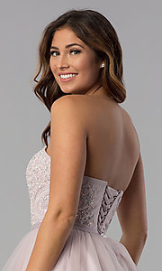 Image of dusty pink short strapless sweetheart hoco dress. Style: DQ-3014 Detail Image 2