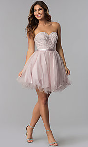 Image of dusty pink short strapless sweetheart hoco dress. Style: DQ-3014 Detail Image 3