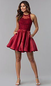 Image of high-neck short homecoming dress with lace applique. Style: DQ-3028 Detail Image 3