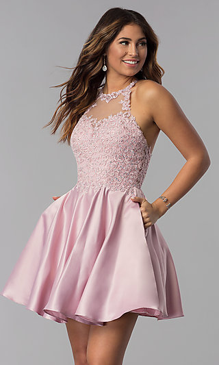 High-Neck Short Homecoming Dress with Lace Applique
