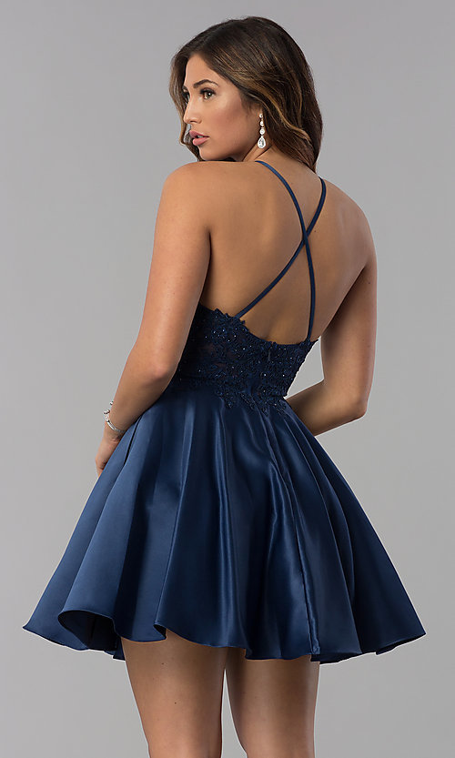 Image of high-neck short homecoming dress with lace applique. Style: DQ-3028 Back Image