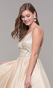 Image of short embellished-bodice homecoming dress. Style: DQ-3039 Detail Image 6