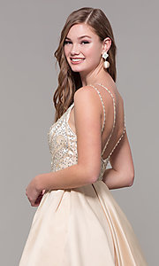 Image of short embellished-bodice homecoming dress. Style: DQ-3039 Detail Image 2