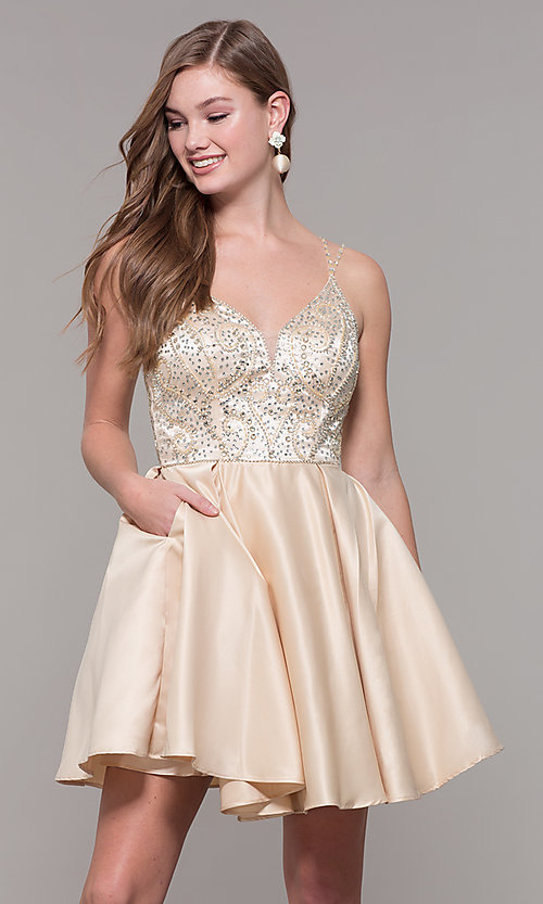 Image of short embellished-bodice homecoming dress. Style: DQ-3039 Detail Image 4