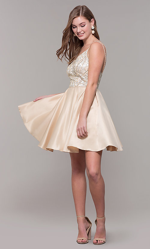 Image of short embellished-bodice homecoming dress. Style: DQ-3039 Detail Image 8