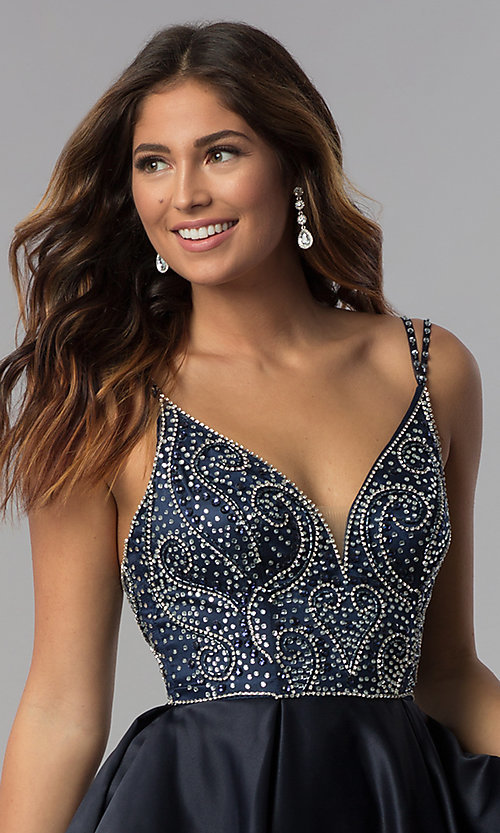 Image of short embellished-bodice homecoming dress. Style: DQ-3039 Detail Image 3