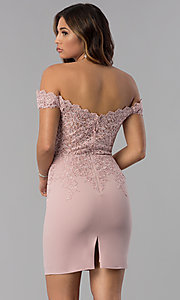 Image of short off-shoulder sweetheart homecoming dress. Style: DQ-3032 Back Image