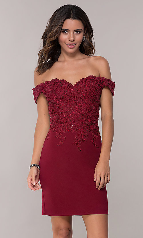 Image of short off-shoulder sweetheart homecoming dress. Style: DQ-3032 Detail Image 3