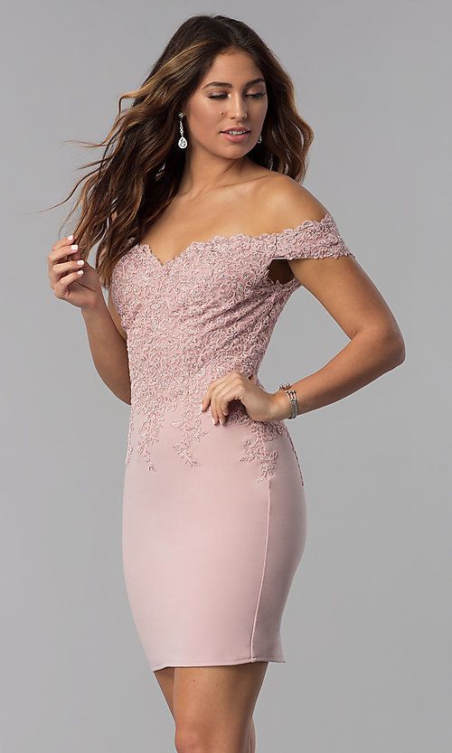 Image of short off-shoulder sweetheart homecoming dress. Style: DQ-3032 Front Image