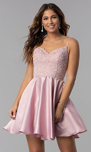 Embroidered-Lace-Applique Short Homecoming Dress