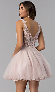Image of embroidered-bodice v-neck short homecoming dress. Style: DQ-3034 Back Image