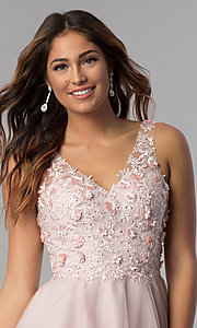 Image of embroidered-bodice v-neck short homecoming dress. Style: DQ-3034 Detail Image 1