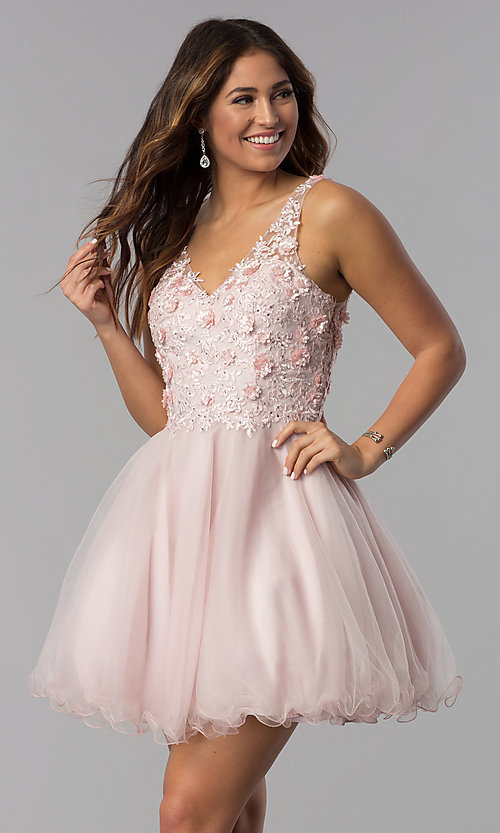 Image of embroidered-bodice v-neck short homecoming dress. Style: DQ-3034 Front Image