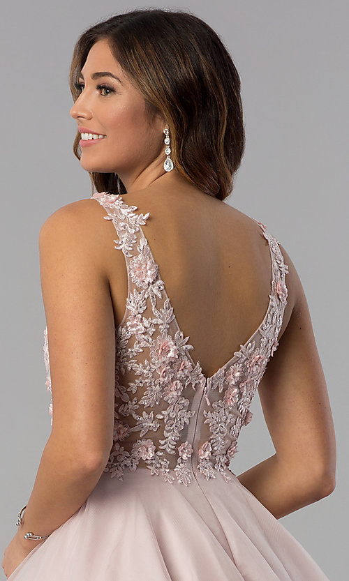 Image of embroidered-bodice v-neck short homecoming dress. Style: DQ-3034 Detail Image 2