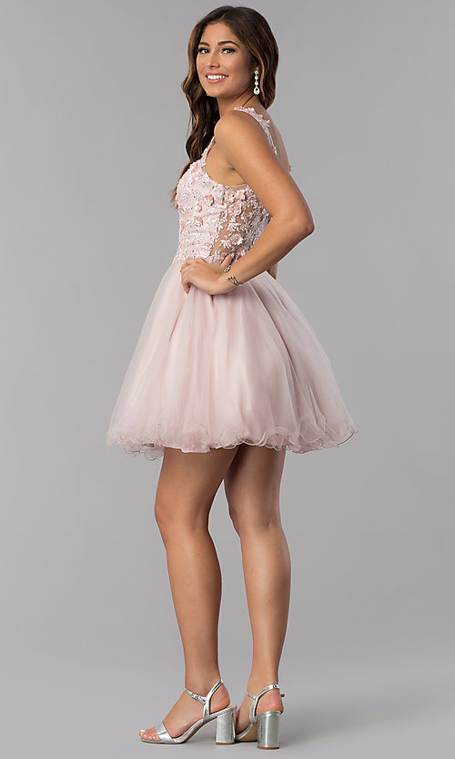 Image of embroidered-bodice v-neck short homecoming dress. Style: DQ-3034 Detail Image 3