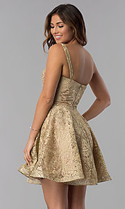 Image of short gold embroidered a-line homecoming dress. Style: DQ-3055 Back Image