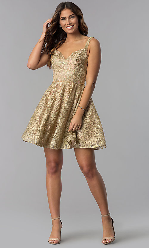 Image of short gold embroidered a-line homecoming dress. Style: DQ-3055 Detail Image 3