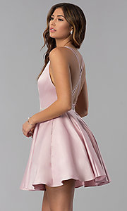 Image of high-neck short open-back homecoming dress. Style: DQ-3062 Front Image