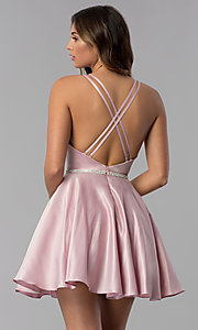 Image of high-neck short open-back homecoming dress. Style: DQ-3062 Back Image