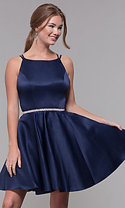 Image of high-neck short open-back homecoming dress. Style: DQ-3062 Detail Image 3