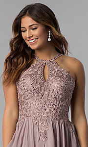 Image of short high-keyhole-bodice homecoming dress. Style: DQ-3043 Detail Image 1