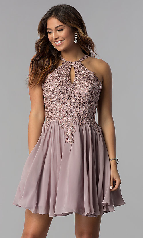 Image of short high-keyhole-bodice homecoming dress. Style: DQ-3043 Front Image