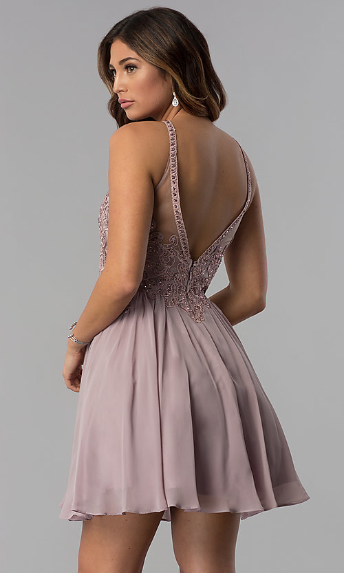Image of short high-keyhole-bodice homecoming dress. Style: DQ-3043 Back Image