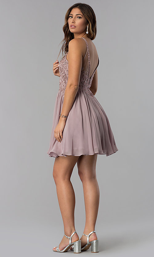 Image of short high-keyhole-bodice homecoming dress. Style: DQ-3043 Detail Image 3