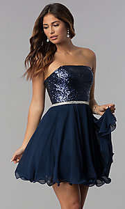 Image of navy short strapless sequin-bodice homecoming dress. Style: DQ-3045 Front Image