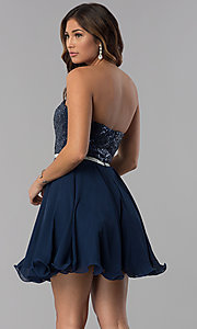 Image of navy short strapless sequin-bodice homecoming dress. Style: DQ-3045 Back Image