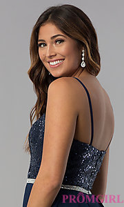 Image of navy short strapless sequin-bodice homecoming dress. Style: DQ-3045 Detail Image 2