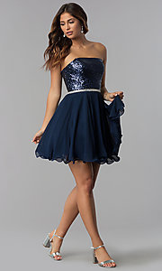 Image of navy short strapless sequin-bodice homecoming dress. Style: DQ-3045 Detail Image 3