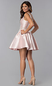 Image of short embellished-waist v-neck homecoming dress. Style: DQ-3065 Detail Image 3