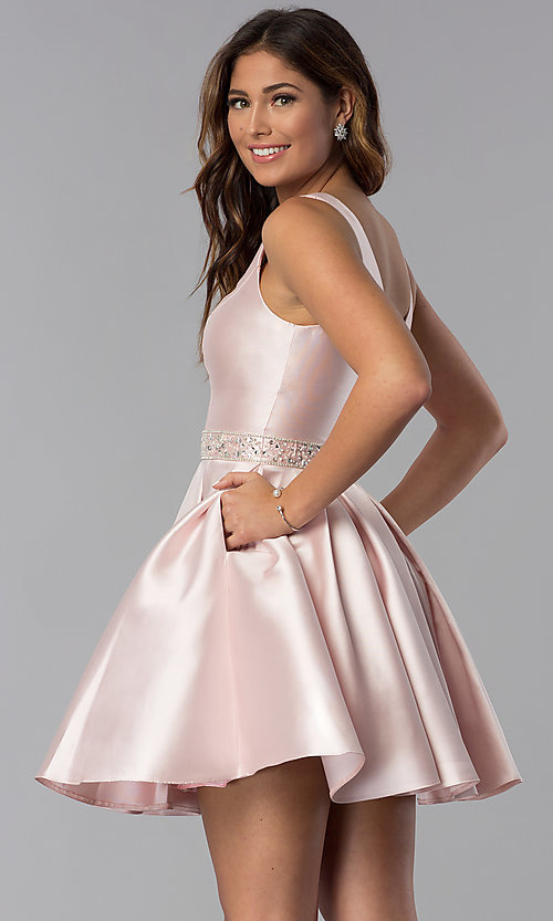 Image of short embellished-waist v-neck homecoming dress. Style: DQ-3065 Front Image