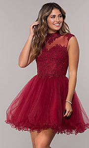Image of short high-neck lace-applique homecoming dress. Style: DQ-3027 Detail Image 3