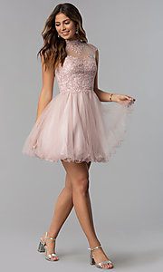 Image of short high-neck lace-applique homecoming dress. Style: DQ-3027 Detail Image 2