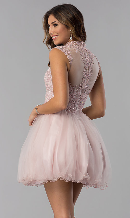 Image of short high-neck lace-applique homecoming dress. Style: DQ-3027 Back Image