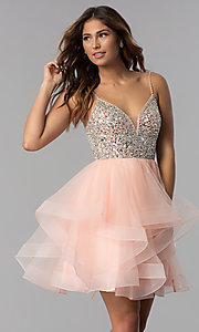 Image of tulle short embellished-bodice homecoming dress. Style: DQ-3050 Front Image