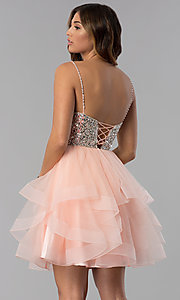 Image of tulle short embellished-bodice homecoming dress. Style: DQ-3050 Back Image