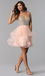 Image of tulle short embellished-bodice homecoming dress. Style: DQ-3050 Detail Image 2