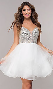 Image of tulle short embellished-bodice homecoming dress. Style: DQ-3050 Detail Image 3