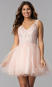 Image of short v-neck lace-bodice homecoming dress in blush. Style: DQ-3022 Front Image