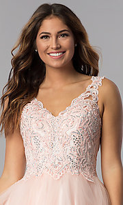 Image of short v-neck lace-bodice homecoming dress in blush. Style: DQ-3022 Detail Image 1