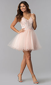 Image of short v-neck lace-bodice homecoming dress in blush. Style: DQ-3022 Detail Image 2