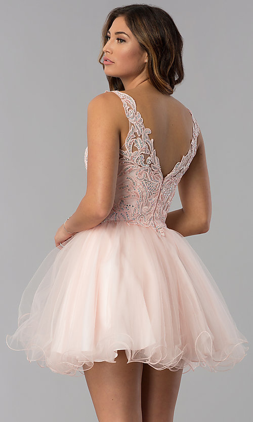 Image of short v-neck lace-bodice homecoming dress in blush. Style: DQ-3022 Back Image
