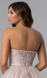 Image of strapless short beaded-bodice homecoming dress. Style: DQ-3056 Detail Image 2