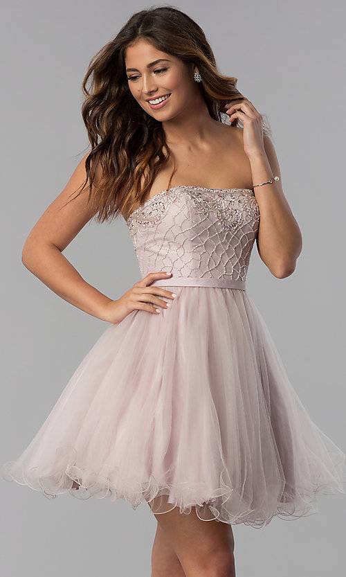 Image of strapless short beaded-bodice homecoming dress. Style: DQ-3056 Front Image